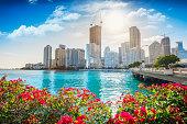 Downtown Miami on a beautiful sunny day, Florida, USA.