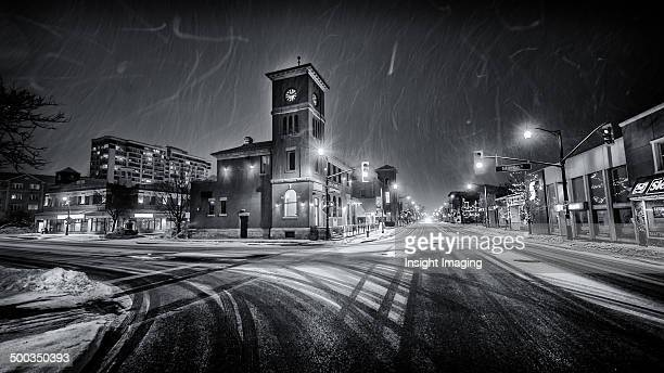 Downtown Milton on a snowy night