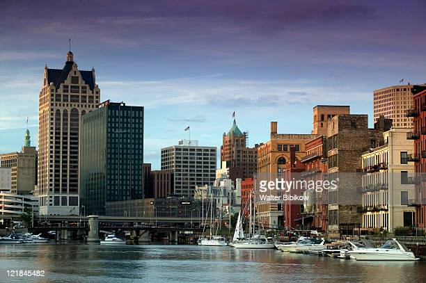 Downtown Milwaukee and Milwaukee River, Wisconsin
