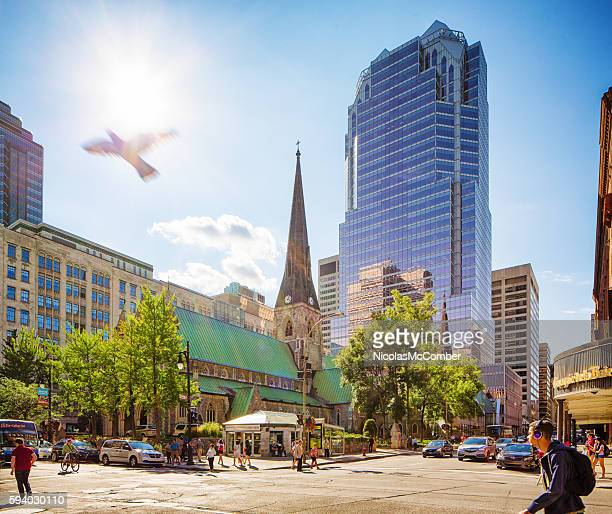 Downtown Montreal city scene on a sunny Summer afternoon.