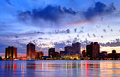 new orleans louisiana skyline along mississippi