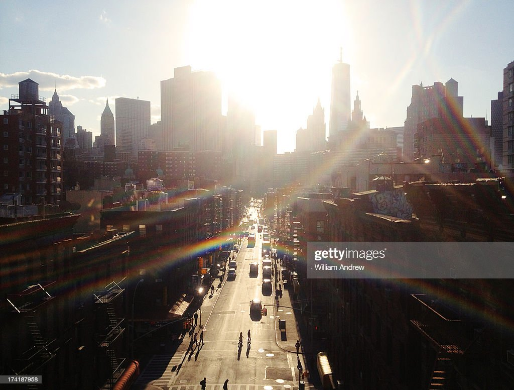 Downtown New York City with heavy lens flare : Stock Photo