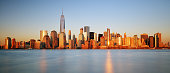 Downtown New York skyline panorama from Liberty State park, USA