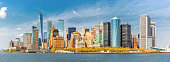 Downtown New York skyline panorama viewed from a boat sailing the Upper Bay