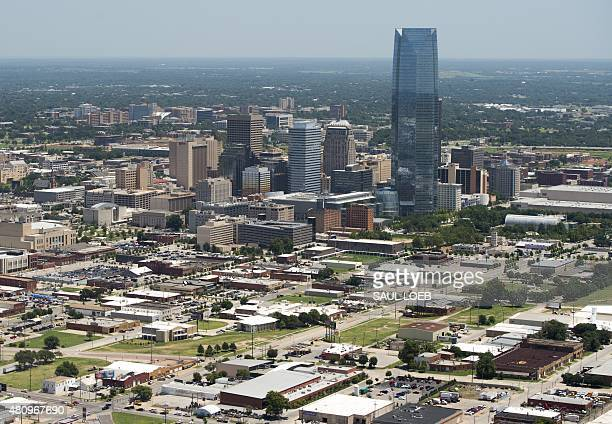 Downtown Oklahoma City Oklahoma is seen from the air July 16 2015 AFP PHOTO / SAUL LOEB