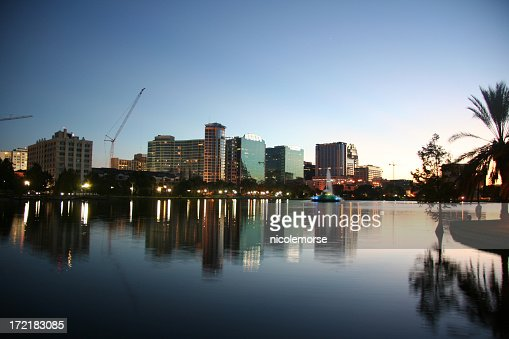 Downtown Orlando skyline reflected at the dusk