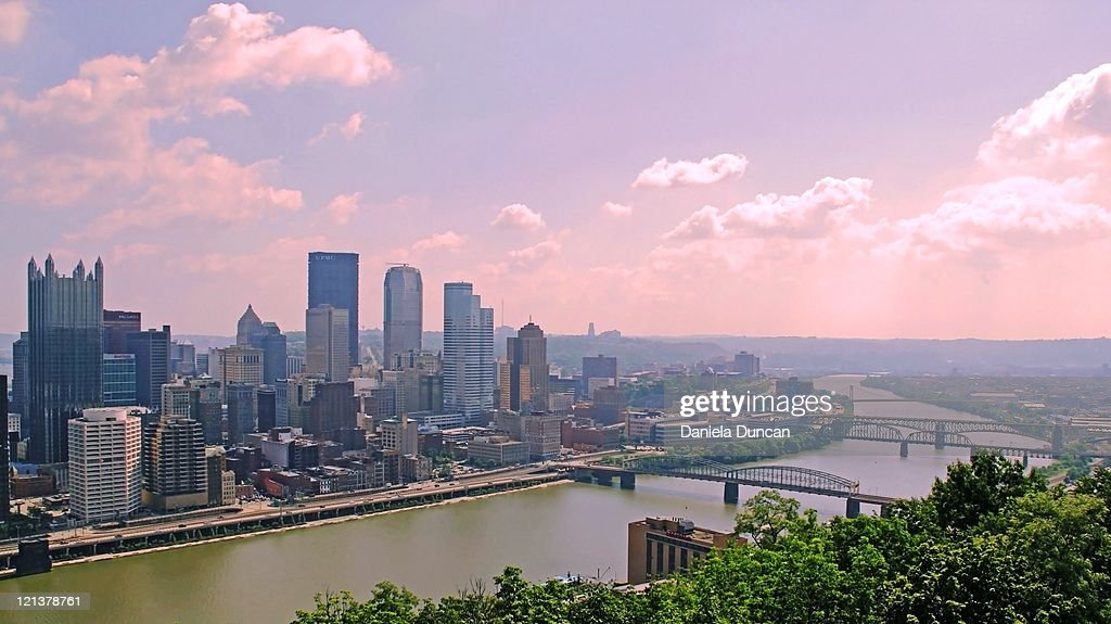 downtown Pittsburgh and Allegheny river : Stock Photo