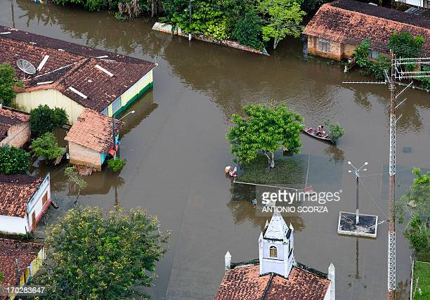 Downtown Presidente Jucelino 120Km from Sao Luis remains covered by the waters of the Preto river in the state of Maranhao northern Brazil on May 15...