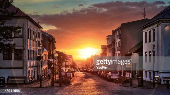 Downtown reykjavik at sunset, Iceland