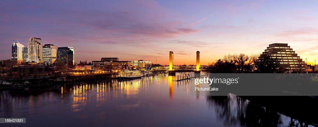 Downtown Sacramento skyline  after sunset