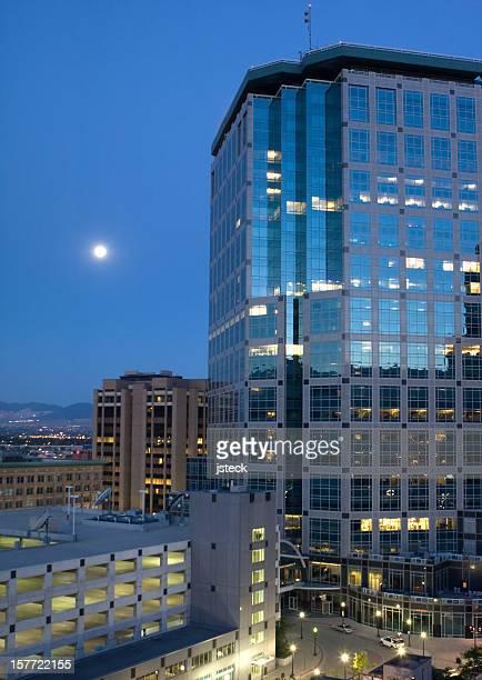 Downtown Salt Lake City by Moonlight