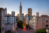 Financial district of San Francisco at sunrise. California. USA