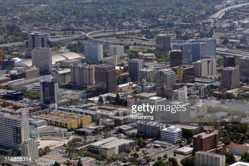 downtown San Jose, California skyline with freeways in background