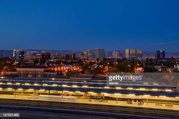 Downtown San Jose, California, with train station.