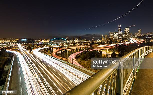 Downtown Seattle and night trails