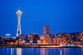 Downtown Seattle City skyline at night