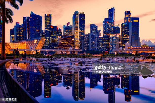 Downtown Singapore reflection on the water, Singapore - August 21, 2017