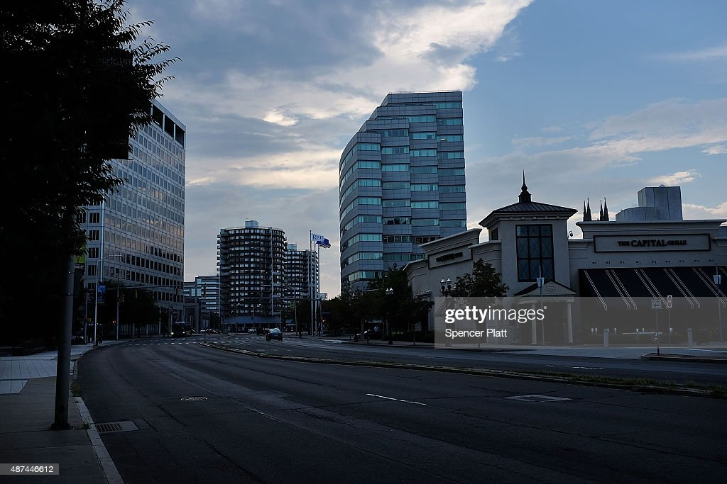 Downtown Stamford is viewed on September 9 2015 in Stamford Connecticut As the global financial industry continues to shrink and go through...