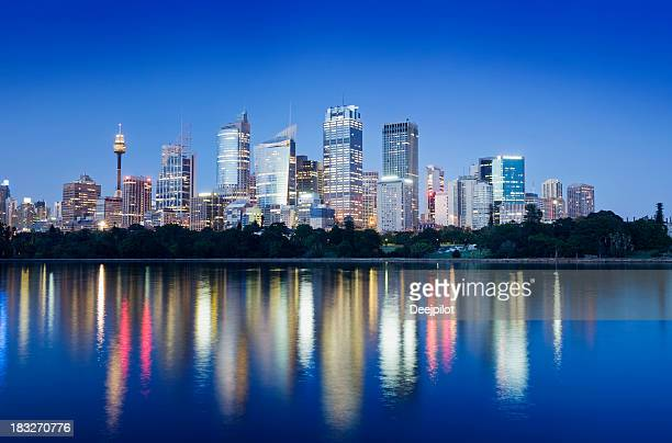 Downtown Sydney City Skyline at Night Australia