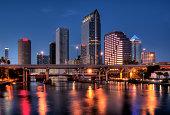 Downtown Tamp Bay Florida at Dusk River side