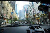 Downtown Tokyo seen from the interior of a car, Tokyo, Japan.