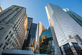 An upward view of some of the many office towers in downtown Toronto, Ontario, Canada.