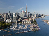 A view of buildings in downtown Toronto viewed from the air