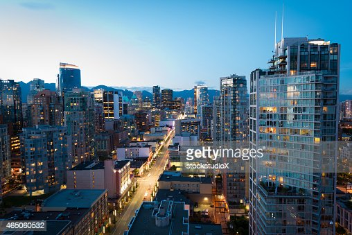 Downtown Vancouver at dusk
