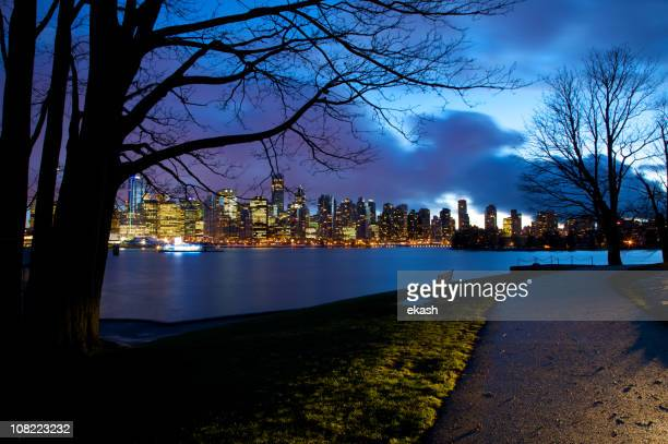 Downtown Vancouver Skyline from Stanley Park at Night
