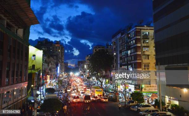 Downtown Yangon in the evening during the rush hour.