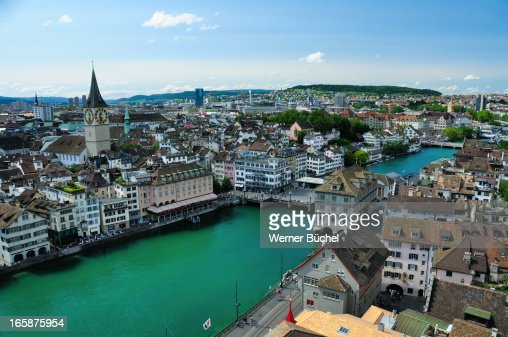Downtown Zurich with Sankt Peter Church and Limmat