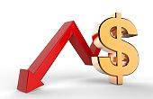 Downward growth arrow dollar symbol sign.Economic recession