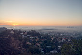 Downward view of sunrise towards Los Angeles