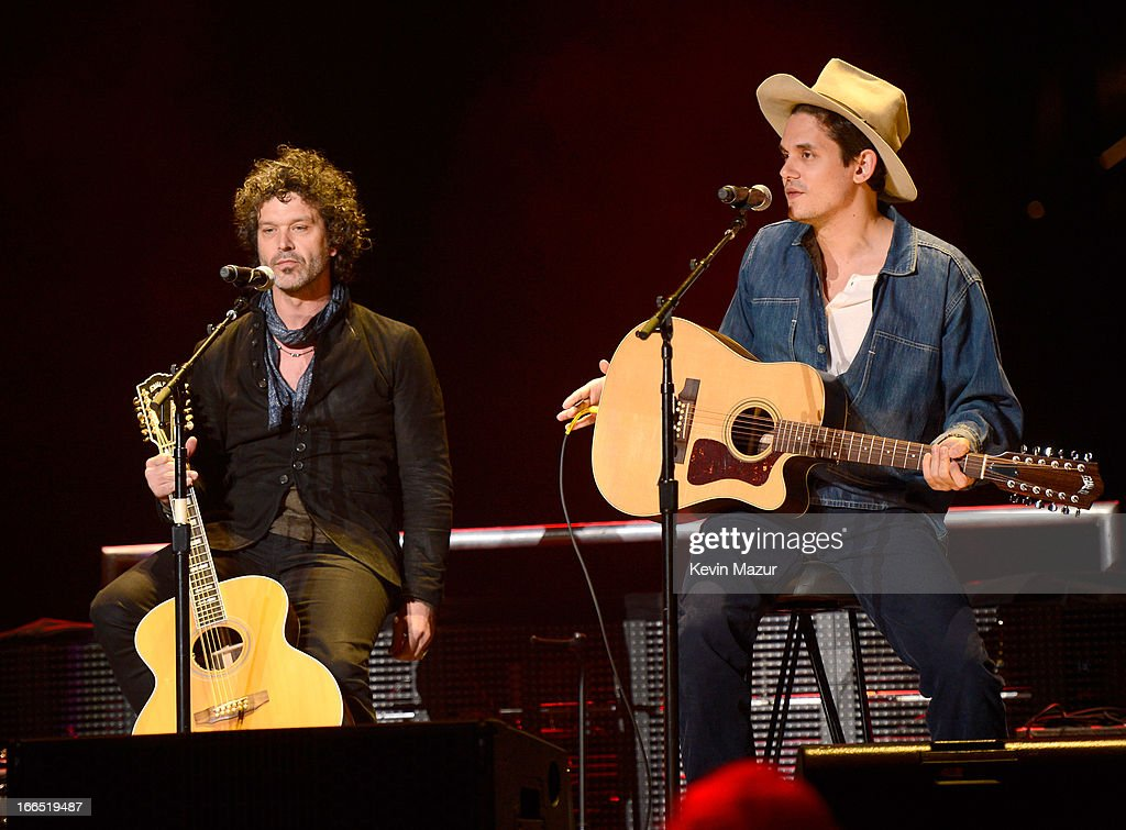 Doyle Bramhall and John Mayer perform on stage during the 2013 Crossroads Guitar Festival at Madison Square Garden on April 13, 2013 in New York City.