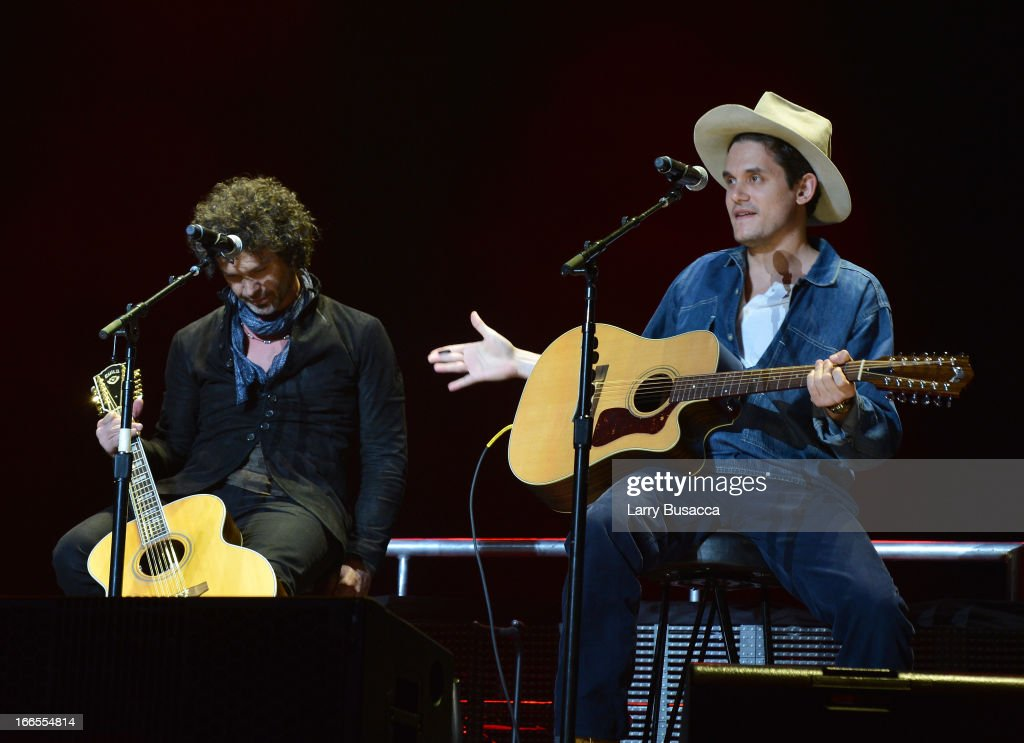 Doyle Bramhall and <a gi-track='captionPersonalityLinkClicked' href=/galleries/search?phrase=John+Mayer&family=editorial&specificpeople=201930 ng-click='$event.stopPropagation()'>John Mayer</a> perform on stage during the 2013 Crossroads Guitar Festival at Madison Square Garden on April 13, 2013 in New York City.