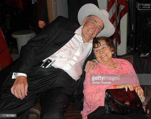 Doyle Brunson and Mrs Brunson during Doyle BrundsonPamela Anderson Party to Launch PamelaPokercom at The Bellagio Hotel and Casino Resort in Las...