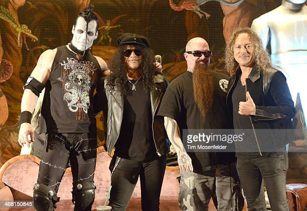 Doyle Slash Kerry King and Kirk Hammett attend a panel discussion as part of Kirk Von Hammett's Fear FestEvil at Grand Regency Ballroom on February 8...