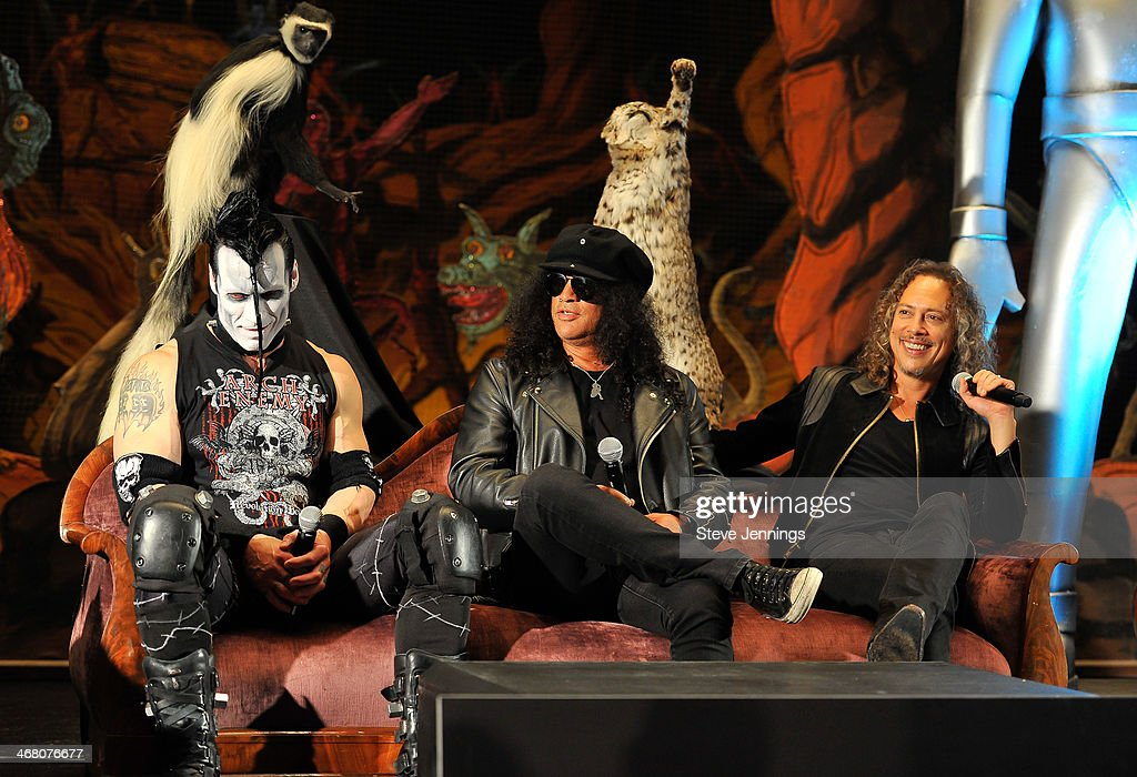 Doyle Von Frankenstein, Slash and Kirk Hammett (L-R) speak on the panel 'Speaking In The Key Of Horror' at Kirk Von Hammett's Fear FestEvil at Grand Regency Ballroom on February 8, 2014 in San Francisco, California.