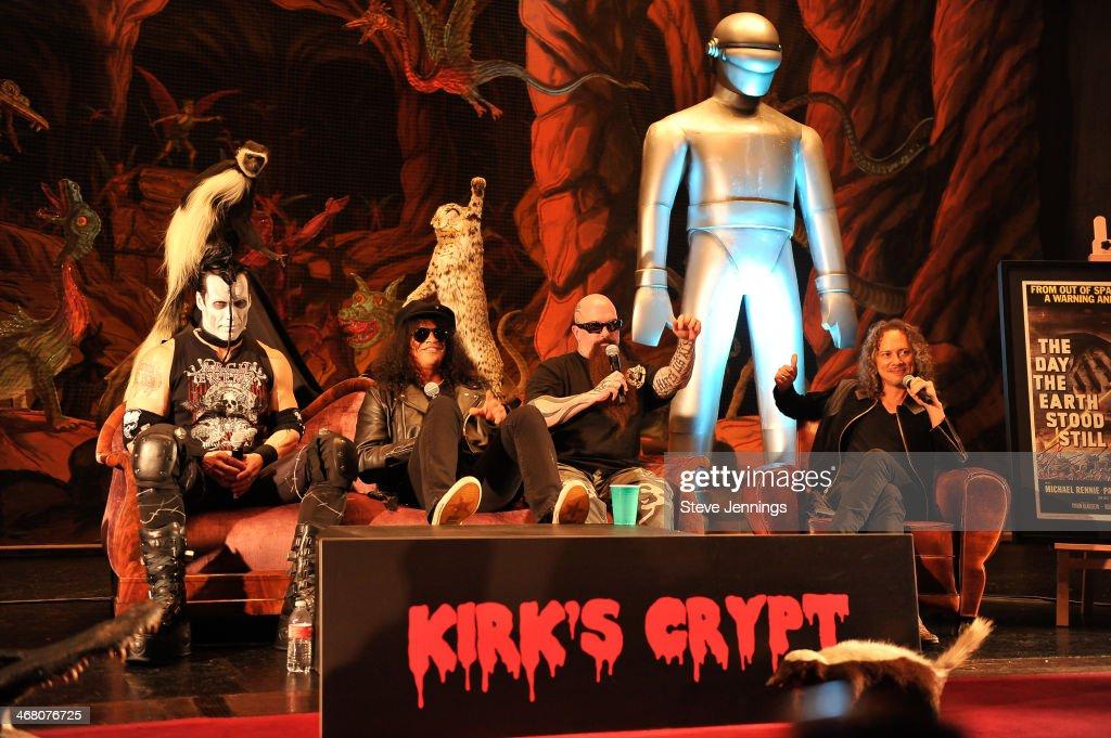Doyle Von Frankenstein, Slash, Kerry King and Kirk Hammett (L-R) speak on the panel 'Speaking In The Key Of Horror' at Kirk Von Hammett's Fear FestEvil at Grand Regency Ballroom on February 8, 2014 in San Francisco, California.