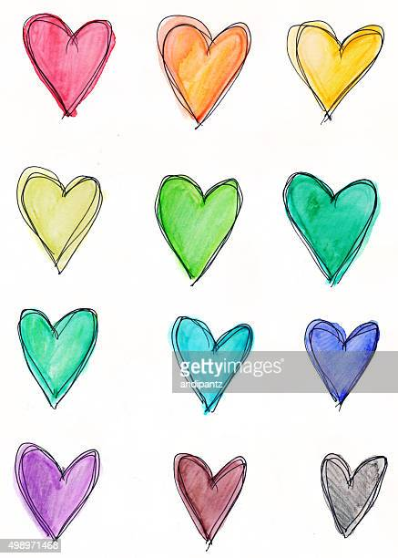 Dozen hearts in rainbow colors on white background