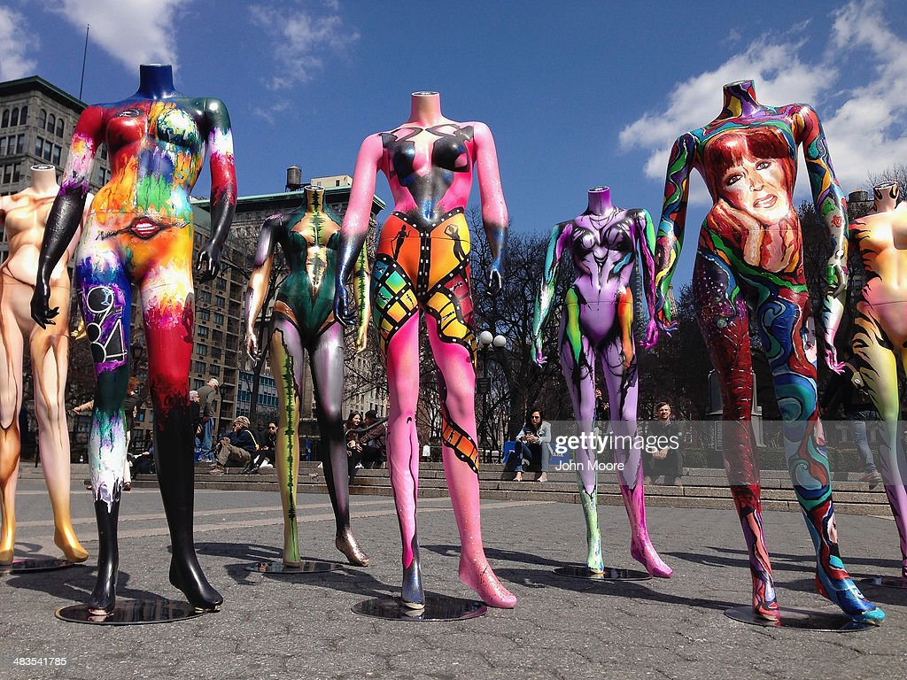 A dozen mannequins stand on display on a sunny spring day in Union Square on April 9, 2014 in New York City. The display, called #MakeupArtForever, was set up throughout Manhattan to celebrate the 30th anniversary of the Make Up Forever brand.