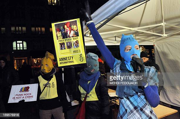 A dozen of person attend a rally called by French NGO Amnesty International and the RussieLibertes association to support jailed members of the...