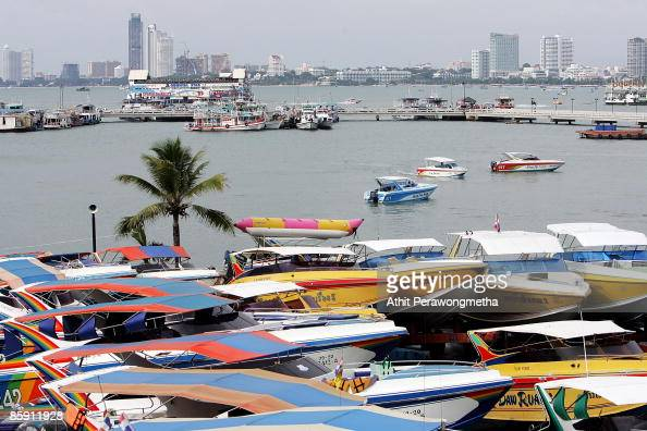 Dozen of speed boats are parked at the pier on April 11 2009 in Pattaya Chonburi Thailand The protesters successfully cancelled the three day...