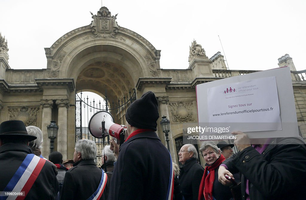 Dozens of French rightists local elected and members of Parliament demonstrate in front of the Elysee Presidential palace on January 23, 2013 in Paris, calling for a referendum on the government's plans to legalise gay marriage and adoption, which is due to be proposed to parliament on January 29. AFP PHOTO / JACQUES DEMARTHON