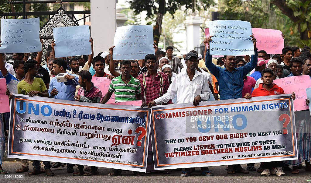 Dozens of Muslims gather outside the UN office in Sri Lankas capital Colombo to protest UN rights chief Zeid Raad Al Hussein failure to meet with them during a brief four-day visit that ended on February 9, 2016. Zeid was visiting the island to gauge progress in ensuring accountability for war-time atrocities in the country emerging form a decades-long Tamil separatist war. AFP PHOTO/ Ishara S. KODIKARA / AFP / Ishara S.KODIKARA