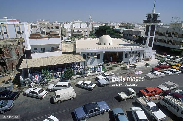 Dozens of Saudi citizens gather at a building on the coast road above the Red Sea Jiddah's flood lit Corniche houses an openair museum home to more...