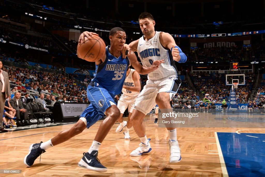 PJ Dozier #35 of the Dallas Mavericks handles the ball against the Orlando Magic during a preseason game on October 5, 2017 at Amway Center in Orlando, Florida.