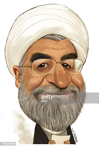 USA 2013 300 dpi Chris Ware caricature of Iranian President Hassan Rouhani