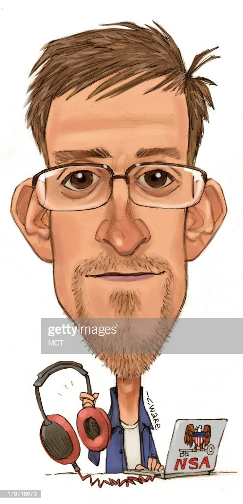 USA - 2013 300 dpi Chris Ware caricature of NSA leaker Edward Snowden.
