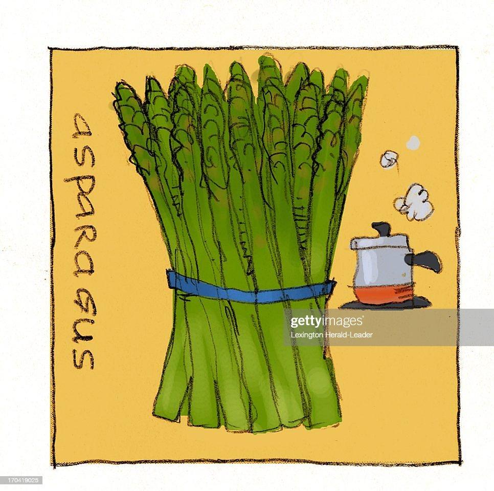 USA - 2013 300 dpi Chris Ware illustration of asparagus.